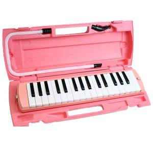 鍵盤ハーモニカ (ピンク) / FunMelo(ファンメロ) 【32鍵盤 / ドレミシール, 名前シール, クリーニングクロス, 1年保証付き, 即日発送】